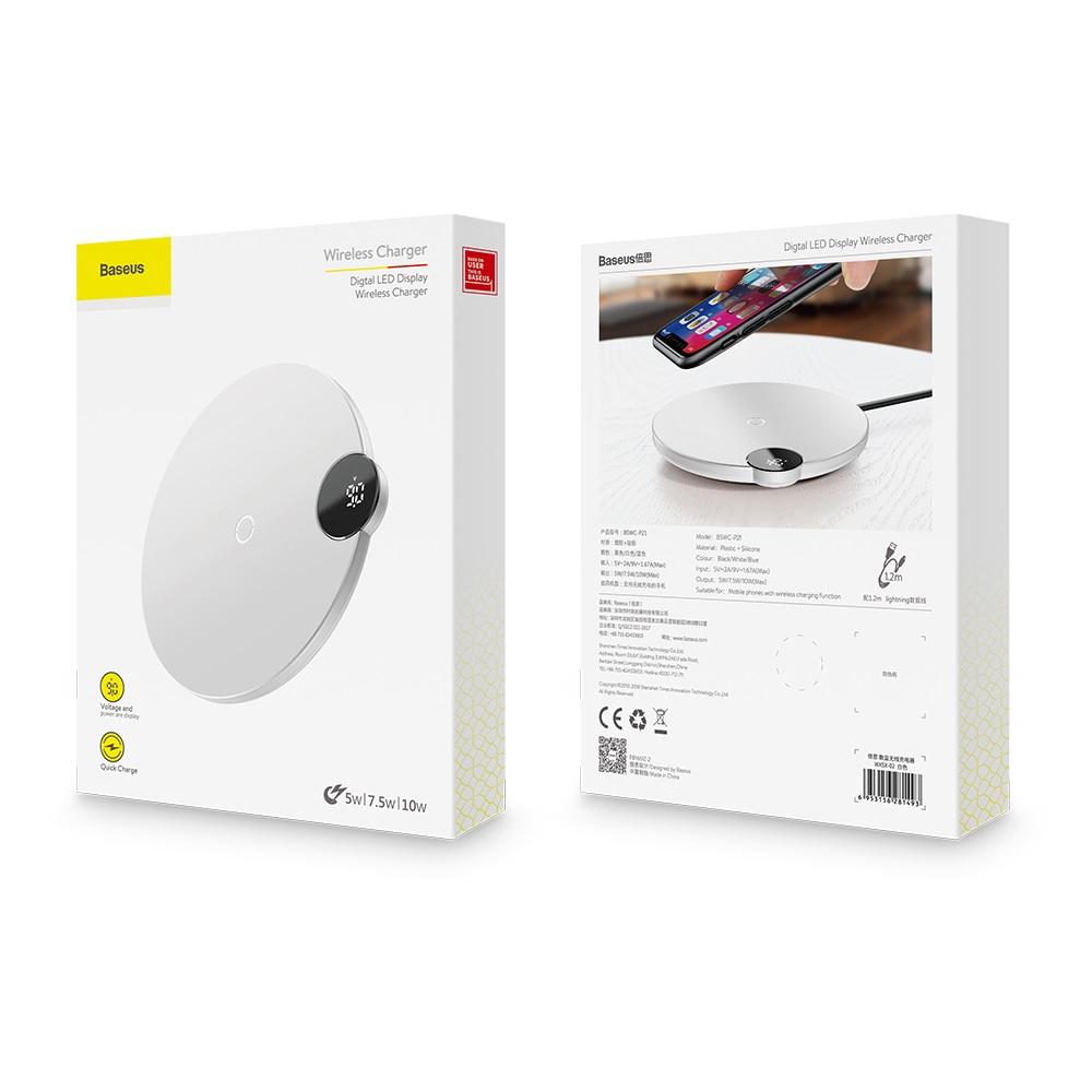 Baseus ładowarka indukcyjna Digital LED biała