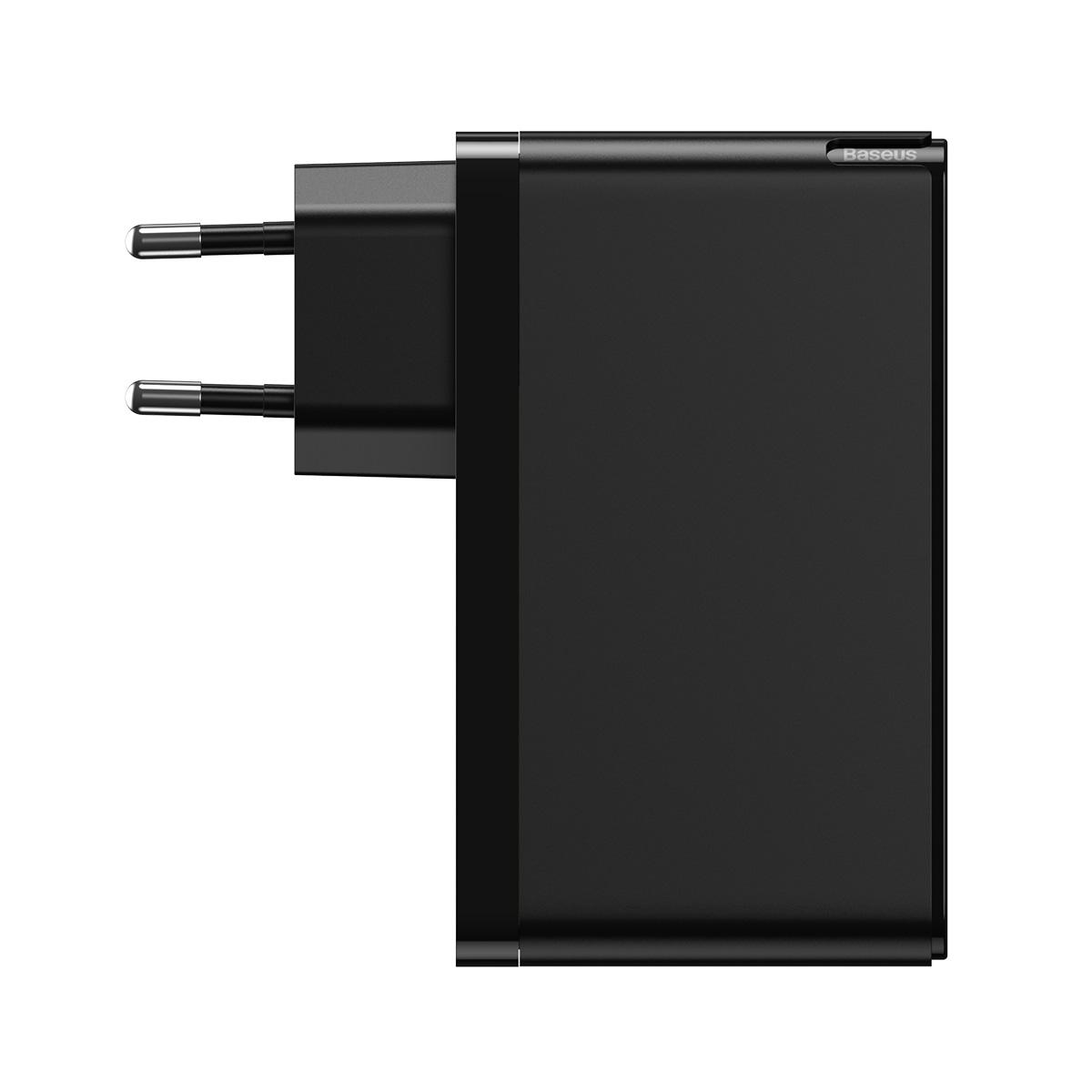 Baseus ładowarka sieciowa GaN2 Mini 3USB USB-A/ 2xPD USB-C 120W czarna z kablem USB-C - USB-C 100W / 2