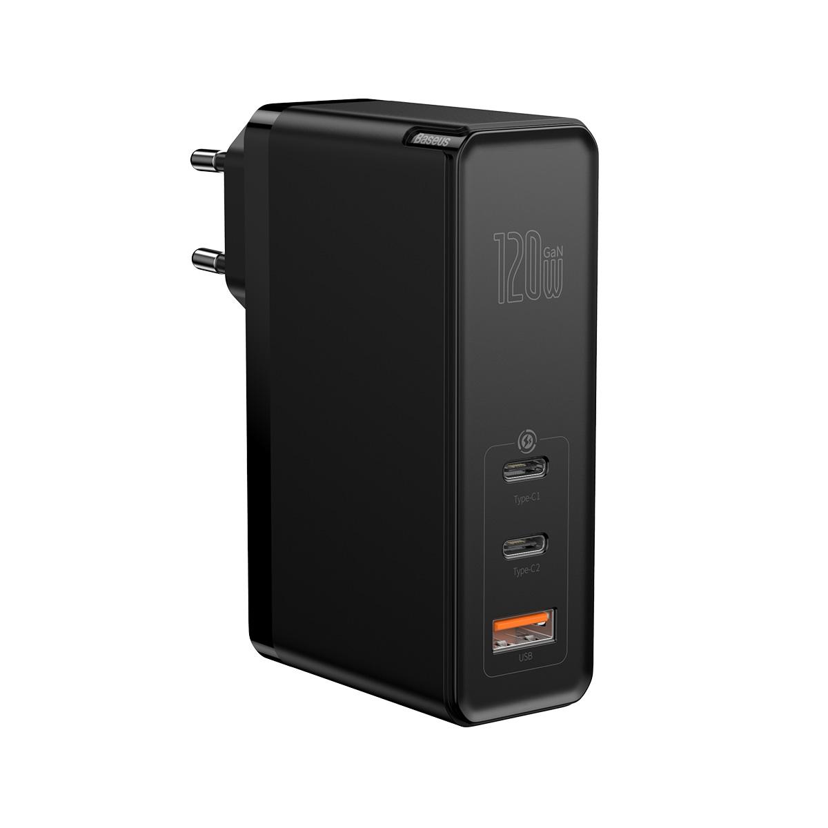 Baseus ładowarka sieciowa GaN2 Mini 3USB USB-A/ 2xPD USB-C 120W czarna z kablem USB-C - USB-C 100W / 3