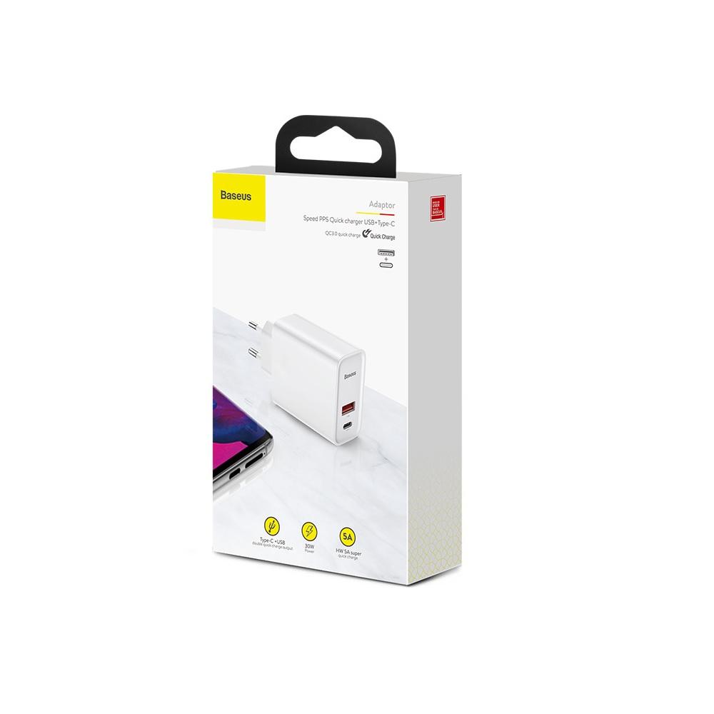 Baseus ładowarka sieciowa PPS QC USB + PD 30W biała / 5