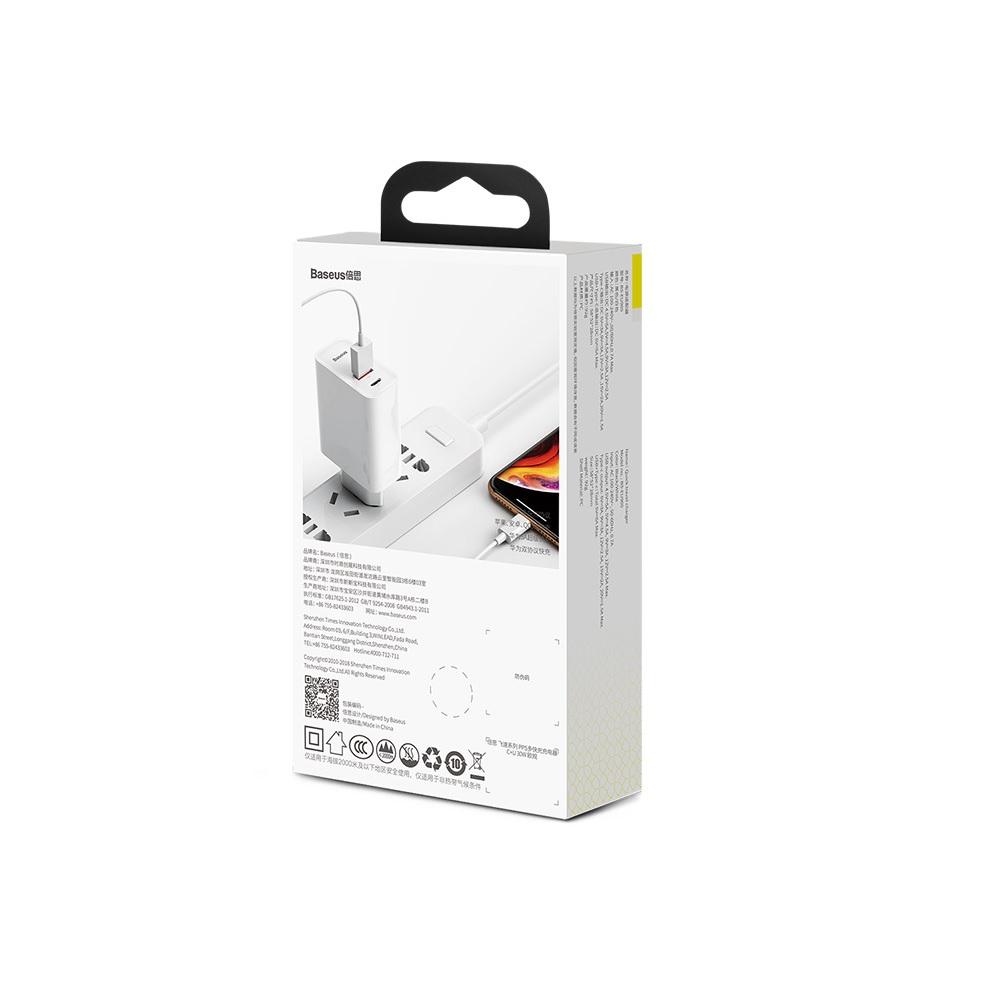 Baseus ładowarka sieciowa PPS QC USB + PD 30W biała / 6