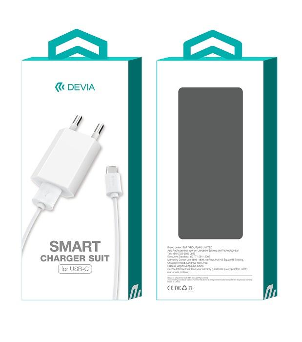 Devia ładowarka sieciowa Smart 1USB plus kabel typ-c biała 1A / 3