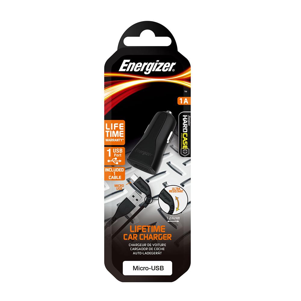Energizer Hardcase Ładowarka samochodowa 1USB 1A z kablem micro czarna Lifetime / 7