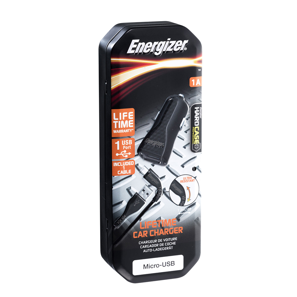 Energizer Hardcase Ładowarka samochodowa 1USB 1A z kablem micro czarna Lifetime / 8