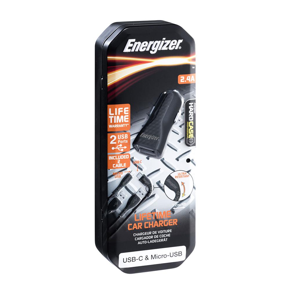 Energizer Hardcase Ładowarka samochodowa 2USB 2,4A z kablem typ-C i microUSB czarna Lifetime / 8