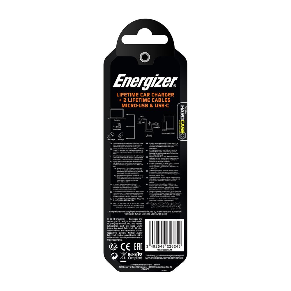 Energizer Hardcase Ładowarka samochodowa 2USB 2,4A z kablem typ-C i microUSB czarna Lifetime / 9