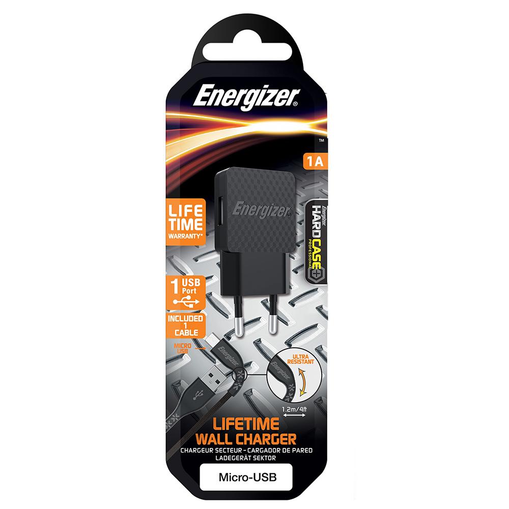Energizer Hardcase Ładowarka sieciowa 1USB 1A z kablem micro czarna Lifetime / 5