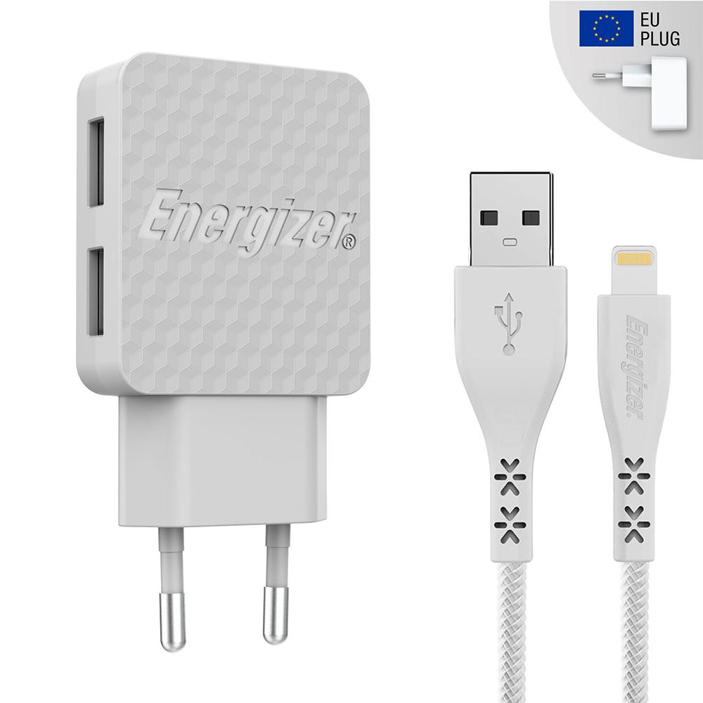 Energizer Hardcase Ładowarka sieciowa 2USB 3,4A z kablem 8-pin biała Lifetime