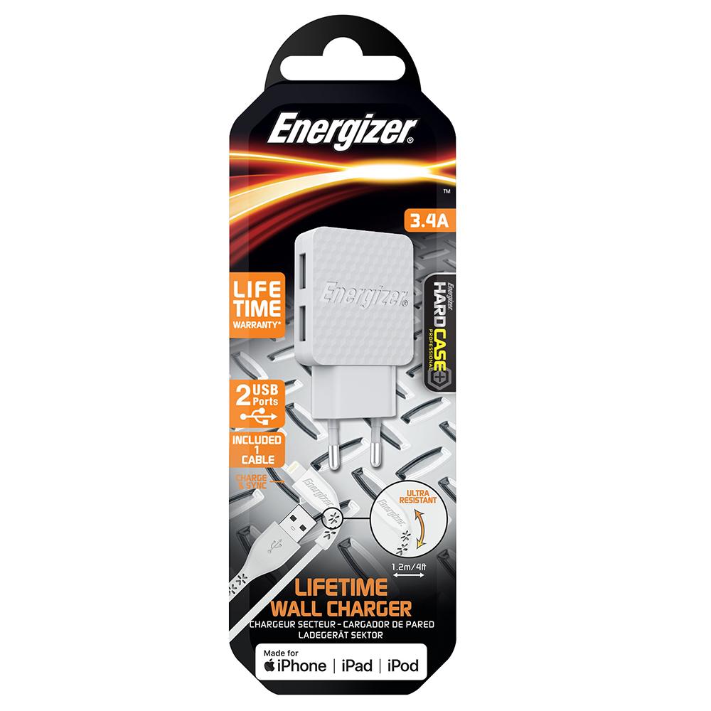 Energizer Hardcase Ładowarka sieciowa 2USB 3,4A z kablem 8-pin biała Lifetime / 6