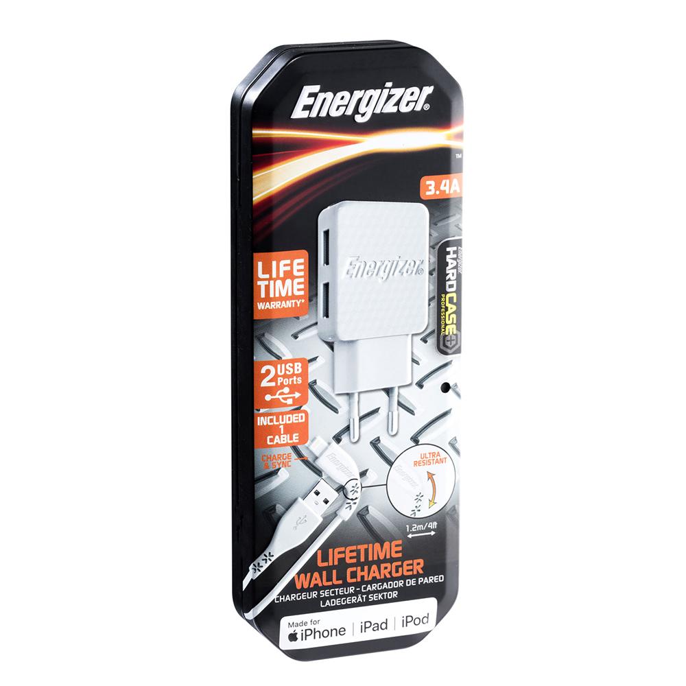 Energizer Hardcase Ładowarka sieciowa 2USB 3,4A z kablem 8-pin biała Lifetime / 7