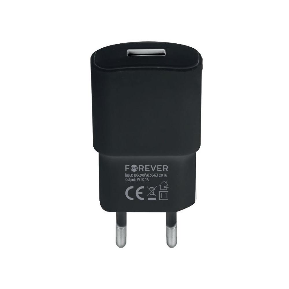 Ładowarka sieciowa Forever USB 1A TC-01 + 3in1 kabel nylon (microUSB + iPhone + Type-C)