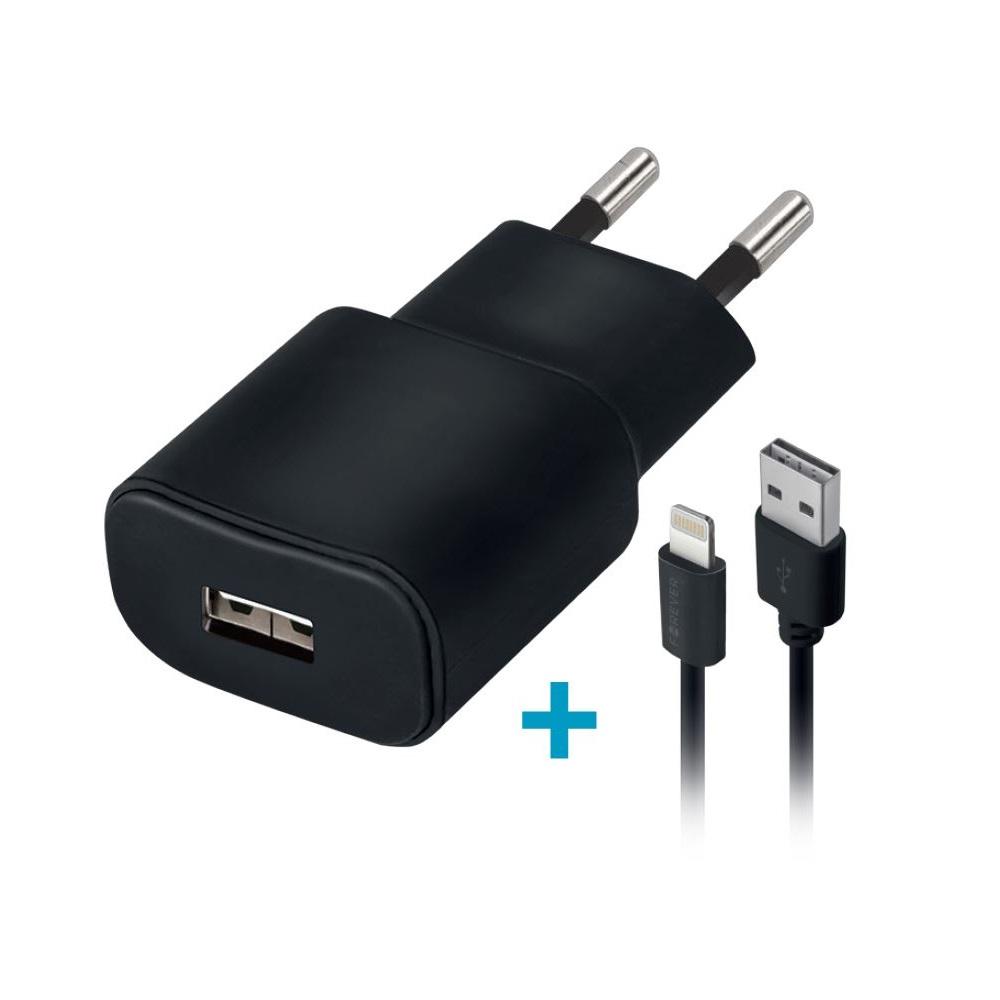 Ładowarka sieciowa Forever USB 1A TC-01 + 3in1 kabel nylon (microUSB + iPhone + Type-C) / 2