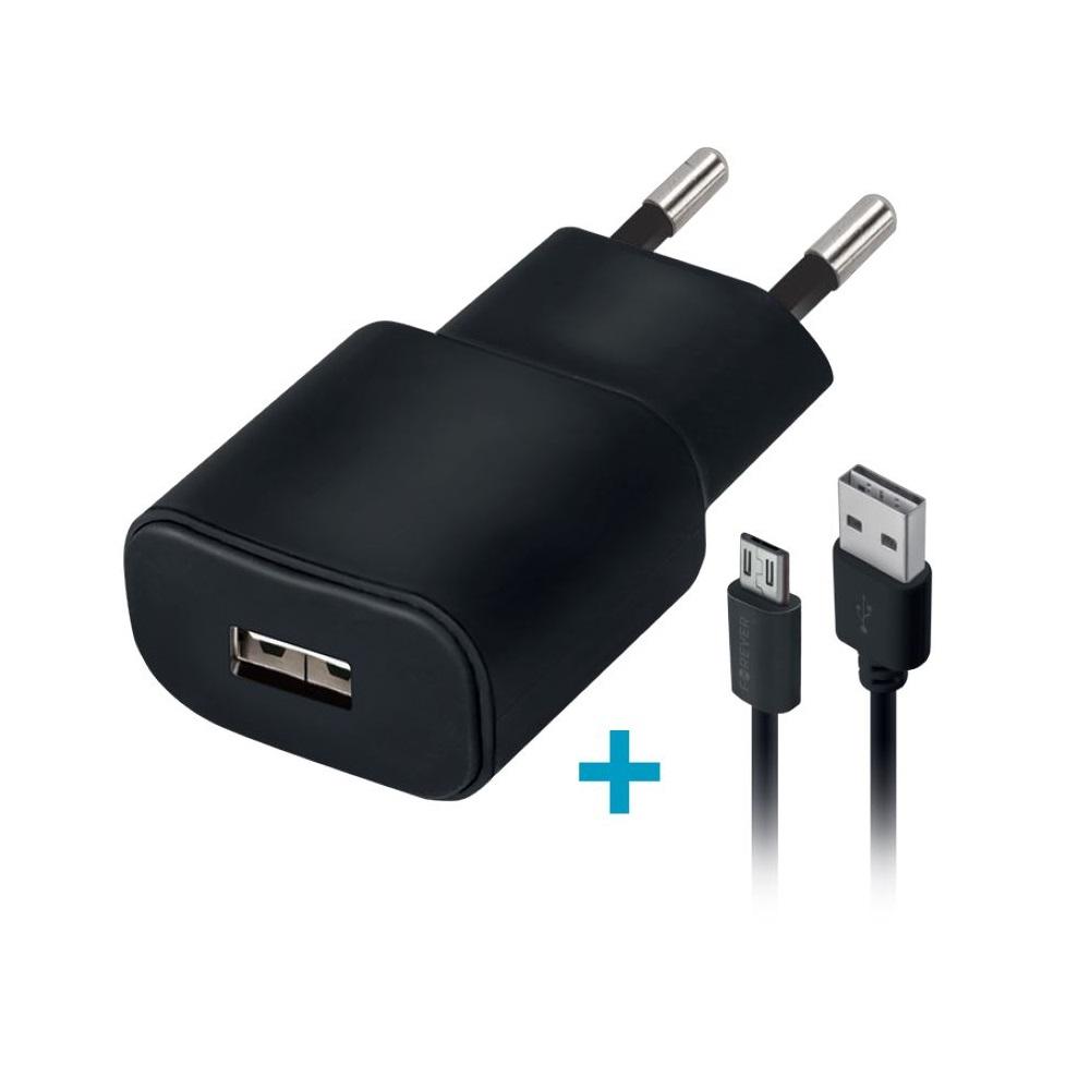 Ładowarka sieciowa Forever USB 1A TC-01 + 3in1 kabel nylon (microUSB + iPhone + Type-C) / 3