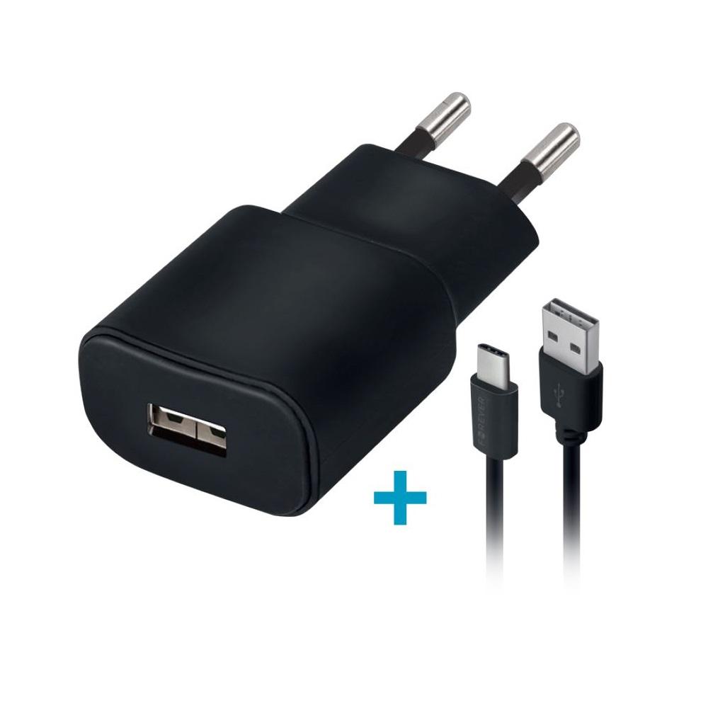 Ładowarka sieciowa Forever USB 1A TC-01 + 3in1 kabel nylon (microUSB + iPhone + Type-C) / 4