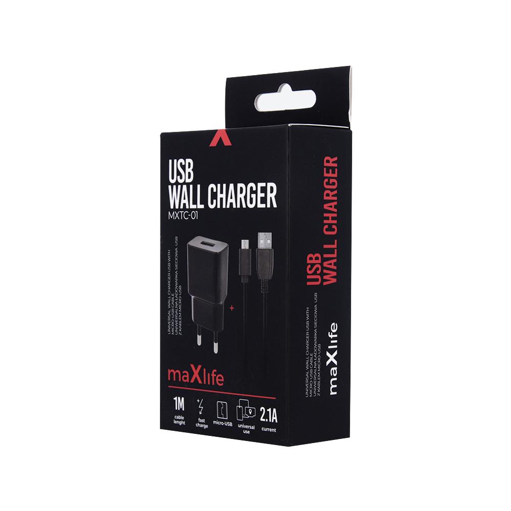 Ładowarka sieciowa Maxlife MXTC-01 USB Fast Charge 2.1A + kabel Micro USB czarna / 3