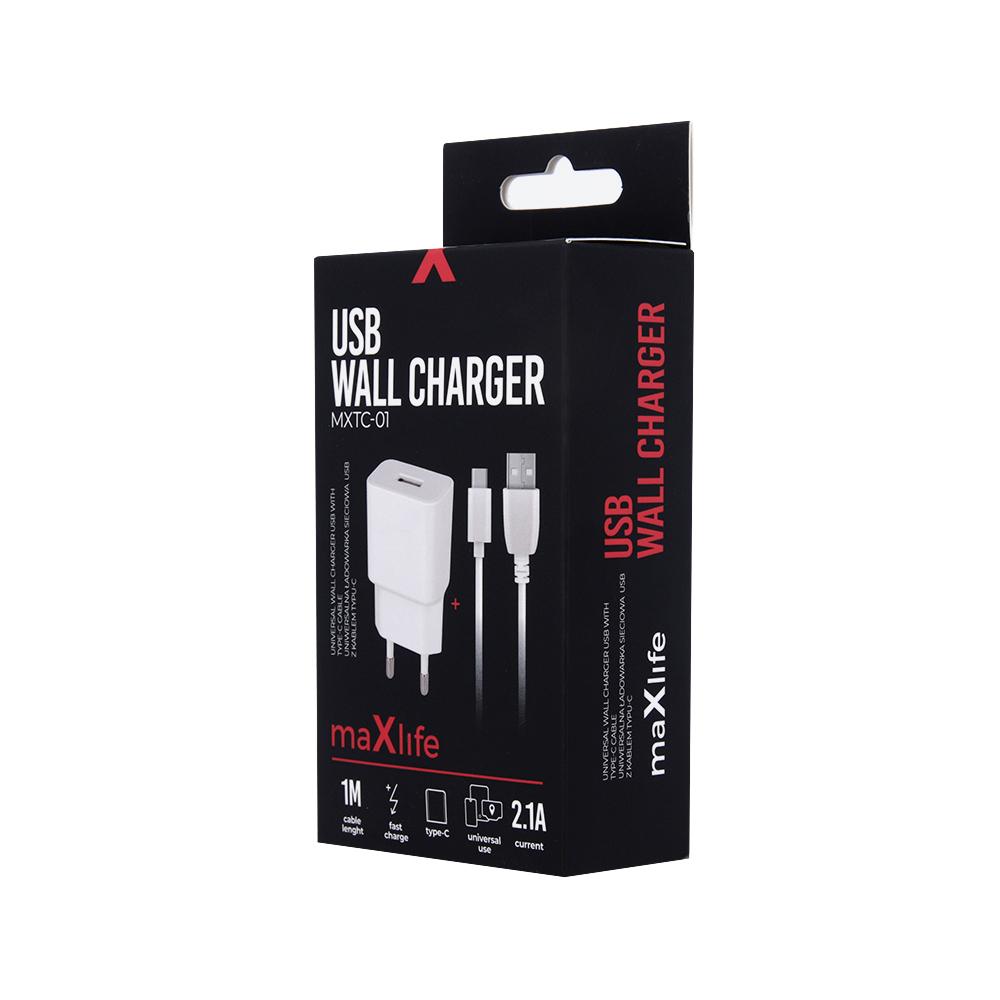 Ładowarka sieciowa Maxlife MXTC-01 USB Fast Charge 2.1A + kabel Typ-C biała / 5
