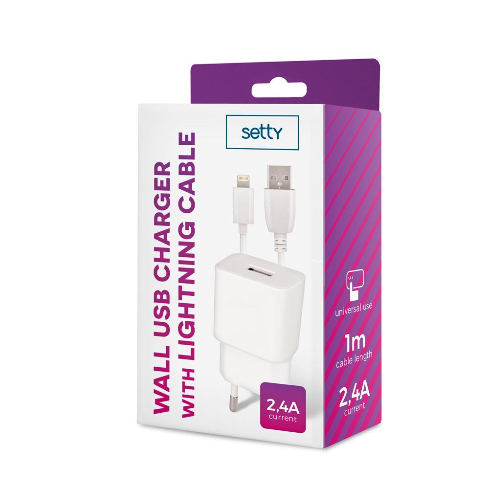 Ładowarka sieciowa Setty USB 2,4A biała + kabel Lightning 1m biały / 3