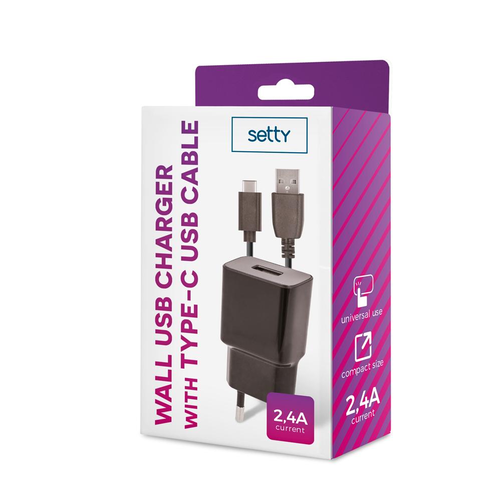 Ładowarka sieciowa Setty USB 2,4A czarna + kabel typ C 1m czarny / 3