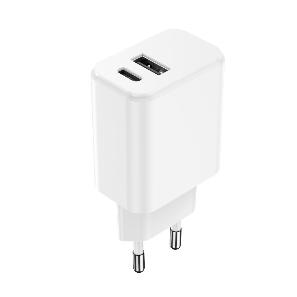 Maxlife ładowarka sieciowa PD MXTC-04 USB-C + USB 20W biała