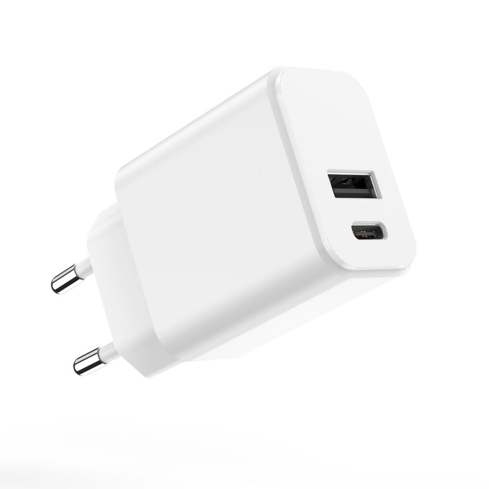Maxlife ładowarka sieciowa PD MXTC-04 USB-C + USB 20W biała / 2