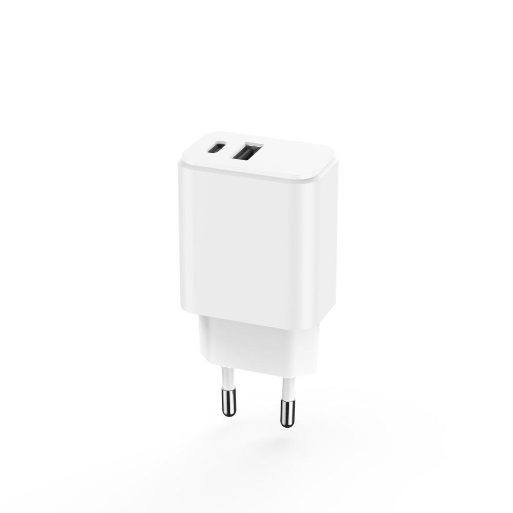 Maxlife ładowarka sieciowa PD MXTC-04 USB-C + USB 20W biała / 3
