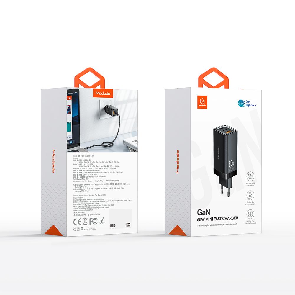 Mcdodo ładowarka sieciowa GaN 3USB USB-A/ 2xPD USB-C 65W biała CH-7920 / 6