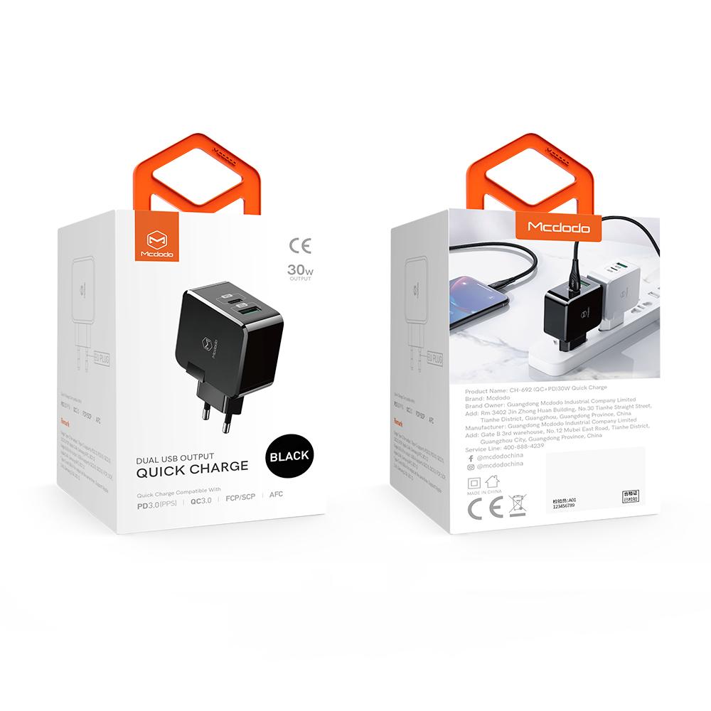 Mcdodo ładowarka sieciowa PD 2USB QC 3.0/ PD USB-C biała 30W CH-6920 / 3