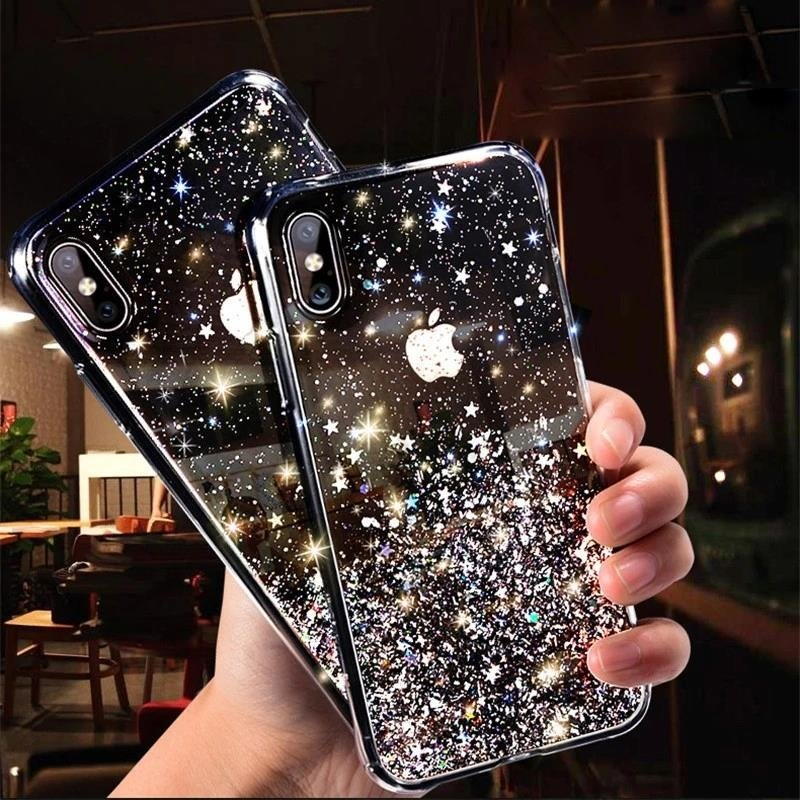 Pokrowiec silikonowy Glitter z brokatem czarny Huawei P30 Lite / 10