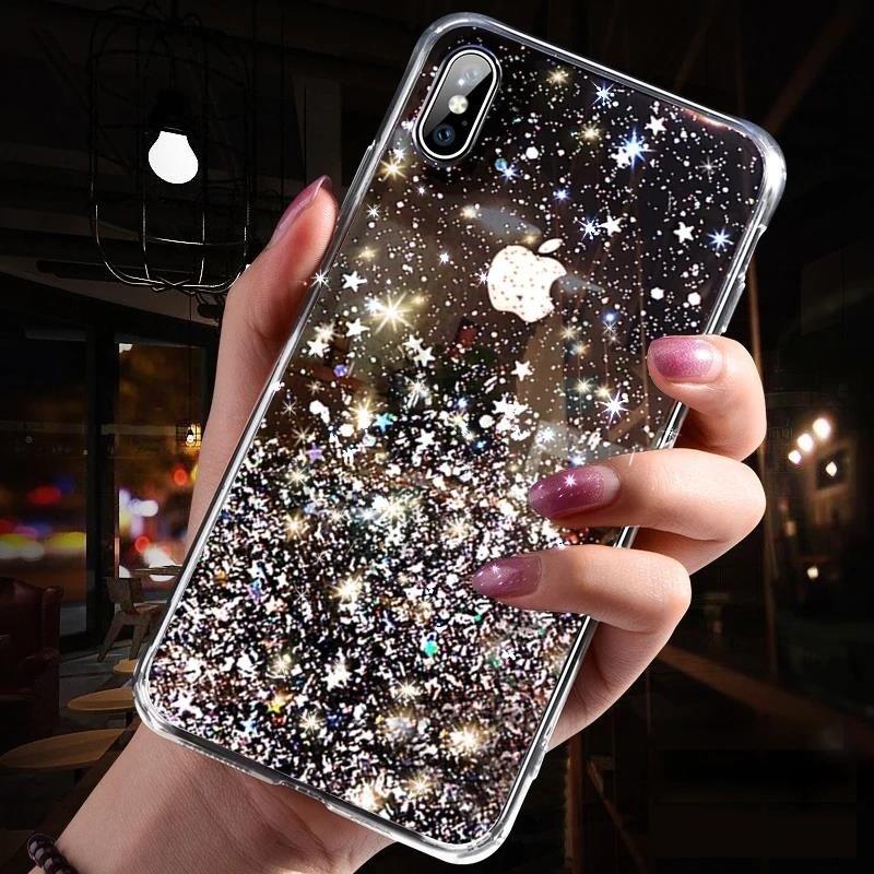 Pokrowiec silikonowy Glitter z brokatem czarny Huawei P30 Lite / 9