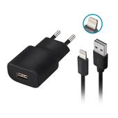 Ładowarka sieciowa Forever USB 1A TC-01 + kabel do iPhone 8-pin czarna