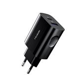 Mcdodo ładowarka sieciowa Tesla 2USB QC 3.0/ PD USB-C czarna 20W CH-8411