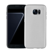 Pokrowiec Carbon Fiber srebrny do Samsung Galaxy S7 Edge