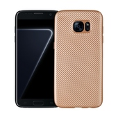 Pokrowiec Carbon Fiber złoty do Samsung Galaxy S7 Edge