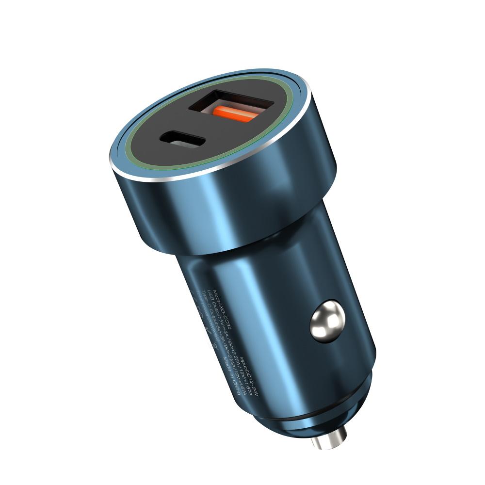 XO Ładowarka samochodowa CC32 2USB PD USB-C/ USB-A niebieska