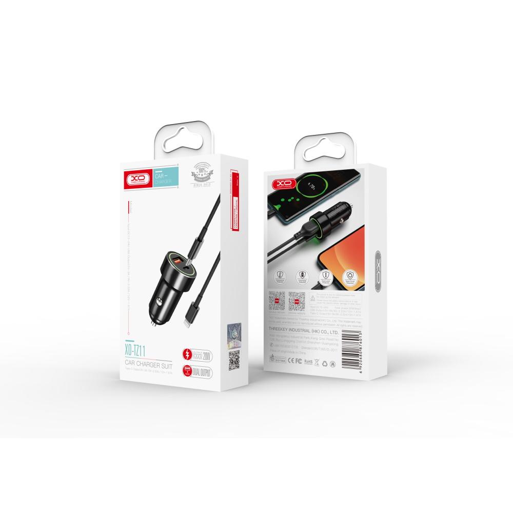 XO Ładowarka samochodowa TZ11 2USB PD USB-C/ USB-A czarna z kablem USB-C - Lightning / 3