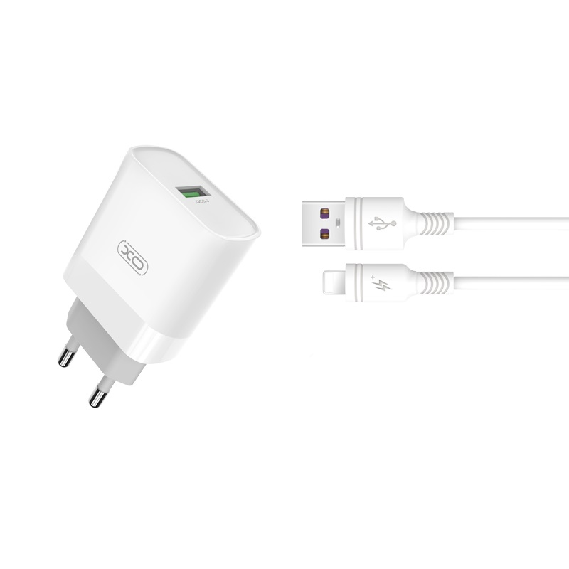 XO Ładowarka sieciowa L63 plus kabel 8-pin biała 1USB QC