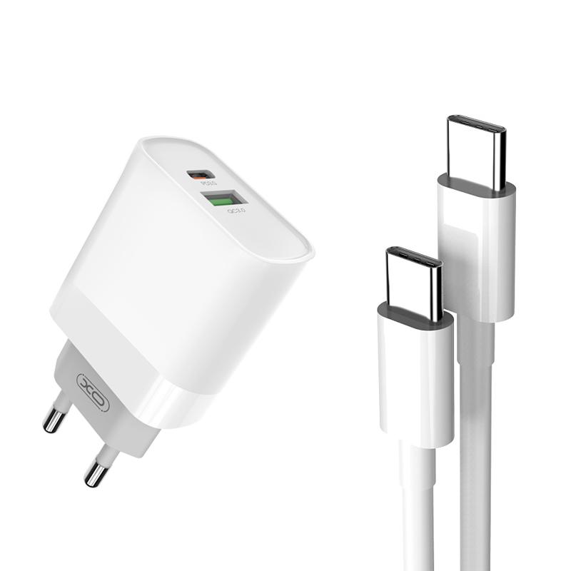 XO Ładowarka sieciowa L64 plus kabel typ-C - typ-C biała 2USB QC3.0/ typ-C PD