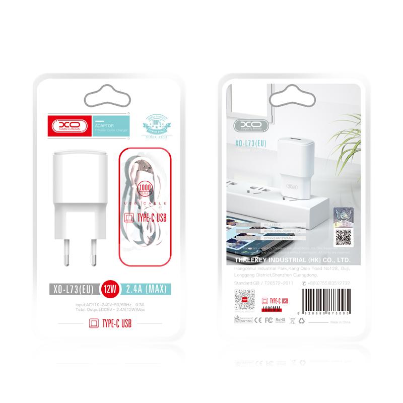 XO Ładowarka sieciowa L73 plus kabel typ-C biała 1USB 2,4A / 2
