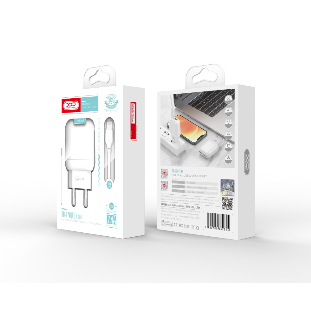 XO Ładowarka sieciowa L78 plus kabel 8-pin biała 2USB 2,4A / 2