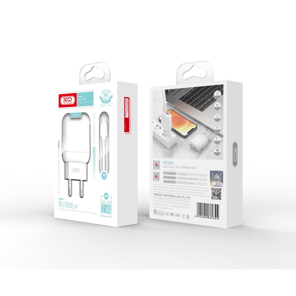 XO Ładowarka sieciowa L78 plus kabel micro biała 2USB 2,4A / 2
